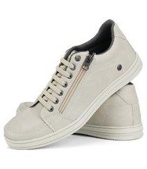 sapatênis casual cr shoes rebento com cadarço elástico e zíper bege