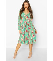 floral print tie front woven midi dress, green