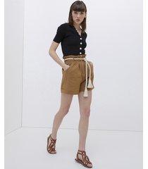 shorts paper bag con cintura in corda