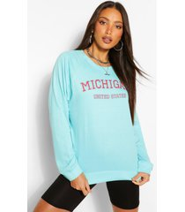 tall 'michigan' slogan washed oversized sweater, turquoise