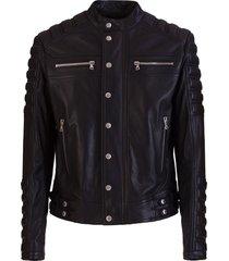 balmain embossed logo biker jacket