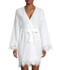 cosabella women's antonella lace-trim cotton-blend robe - white - size m
