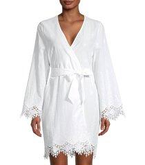 cosabella women's antonella lace-trim cotton-blend robe - white - size m