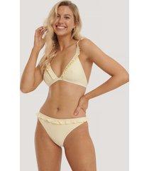 na-kd swimwear bikinitrosor med rynkad kant - yellow