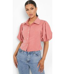 blouse met pofmouwen en knopen, mauve