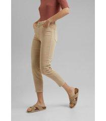 pantalón mujer con algodón ecológico beige esprit