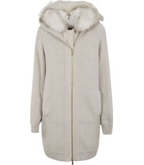 brunello cucinelli ribbed knit double-layered jacket