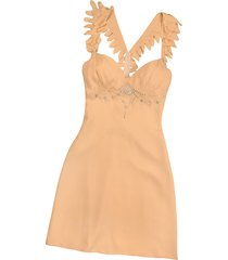 hafize ozbudak designer tops & co, peach crystal decorated silk crepe dress
