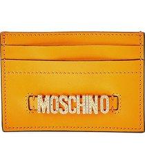 moschino women's embellished logo leather card case - orange