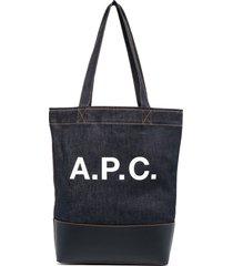 a.p.c. logo denim tote - blue