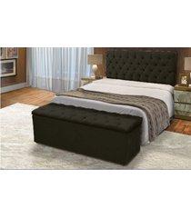 cabeceira mais calçadeira baú casal 140cm para cama box sofia corino preto - ds móveis
