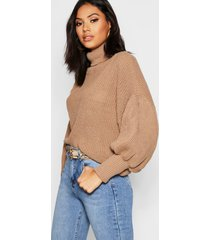 roll neck balloon sleeve knitted sweater, camel