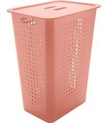 cesta de roupas com tampa organizar 47 litros rosa quartz