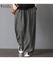 zanzea para mujer de gran tamaño harem ancho piernas pantalones casuales pantalones de cintura elástica -gris