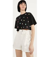 cropped t-shirt met glanzende applicaties