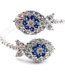 anillo micropave eyes baño rodio cristal azul sara k