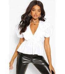 katoenen poplin blouse met pofmouwen en laag decolleté, white