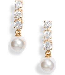 women's nadri camila imitation pearl & cubic zirconia drop earrings