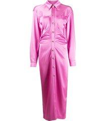 nanushka ruched shirt dress - pink