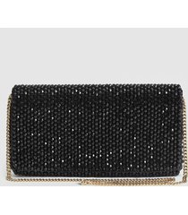 reiss zoey - embellished clutch bag in black, womens