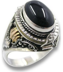 925 sterling silver 14k gold onyx poison pillbox locket ring secret compartment