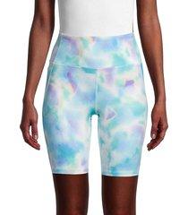 nanette lepore women's tie-dye biker shorts - vista blue - size m