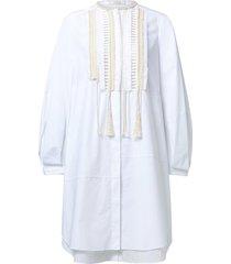 poplin power dress in pure white