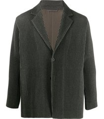 homme plissé issey miyake pleated single-breasted blazer - grey