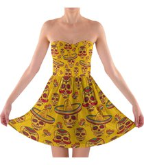 mexican sugar skulls in gold sweetheart strapless skater dress