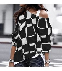 2019 moda casual imprimir camiseta mujer tallas grandes cuello o-negro