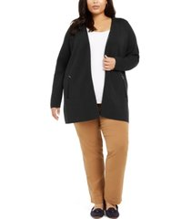 charter club plus size milano zip-pocket cardigan, created for macy's