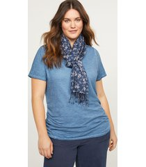 lane bryant women's floral fringe scarf onesz navy