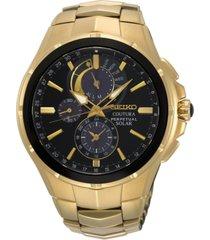 seiko men's solar chronograph coutura gold-tone stainless steel bracelet watch 44mm