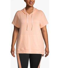lane bryant women's active seamed dolman sleeve hoodie 26/28 peach nectar