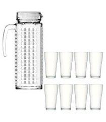 kit 1 jarra de vidro ladrilhos branca 1,2 litros e 8 copos de vidro sture móveis