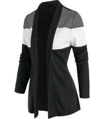 contrast open front cardigan