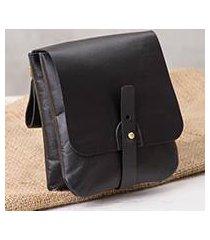 leather waist bag, 'sleek traveler' (peru)