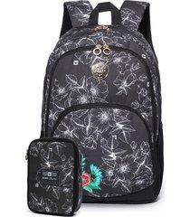 mochila de costas e necessaire hang loose preto/branco preto/branco - preto - feminino - dafiti