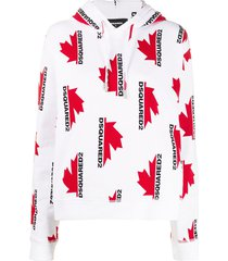 dsquared2 loose-fit logo-print hoodie - white