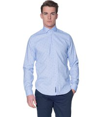 blue industry casual shirt met lange mouwen