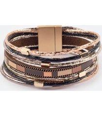 aubree metallic cord wrap bracelet - brown