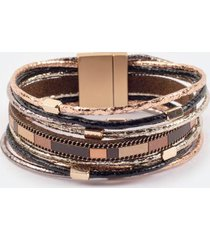 aubree metallic cord wrap bracelet - brown