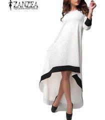 zanzea para mujer del cuello de o 3/4 summer party elegante costuras de manga asimétrica hem vestido largo maxi de la playa vestido tamaño más blanca -blanco