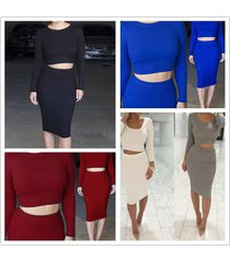 women knitted cotton long sleeved crop top bodycon skirt set 6 color