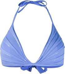 la perla sequin-embellished triangle bikini top - blue
