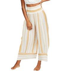 women's billabong all lined up stripe crop wide leg pants, size large - yellow