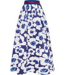 spódnica maxi w kwiaty granatowa