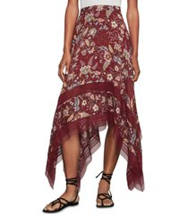 bcbgmaxazria floral-print handkerchief-hem skirt