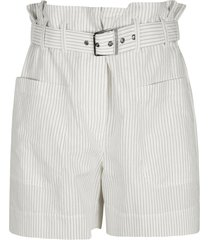 high rise stripe belted shorts