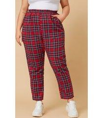 pantalones a cuadros con bolsillos laterales rojos talla grande